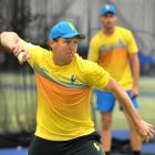 Otago seamer Angus McKenzie returns the ball during a training session at the Edgar Centre...