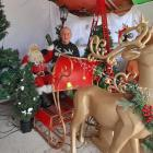 David van Tongeren sits on a new Santa sleigh among his home's Christmas delights. Photo: Supplied