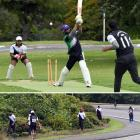 Umair Maqbool, of Christchurch, who had just hit a six, is cleaned bowled by Krishan Luxmanan, of...