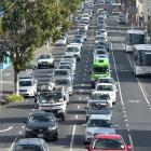 Nose-to-tail traffic crawls through central Dunedin. PHOTO: OTAGO DAILY TIMES FILES