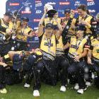 The Wellington Blaze celebrate winning the Super Smash last season. PHOTO GETTY IMAGES