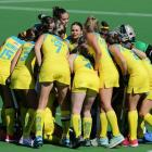 The Hockeyroos huddle during the FIH Hockey Olympic Qualifiers match between the Australian...