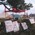 Protest banners at Ihumatao Photo: Nicole Hunt