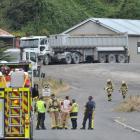 Emergency services staff gather near the Kai Point Coal mine in Kaitangata yesterday afternoon....
