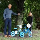 Children will scavenge for the blue bikes held by Waitaki Mayor Gary Kircher and Waitaki District...