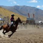 Caitlyn Hey competes in the junior barrel race at Omarama's annual rodeo yesterday. PHOTO: RUBY...