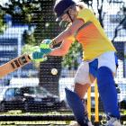 Otago wicketkeeper-batswoman Polly Inglis plays a shot during a net session at Logan Park earlier...