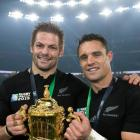 Richie McCaw (left) and Daniel Carter with the Webb Ellis Cup after winning the 2015 Rugby World...