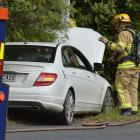 A late-model Mercedes Benz hit a street light pole at Opoho Loop Rd in Dunedin this morning....