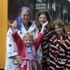 Getting into the spirit of the polar party on board the Santa Express are (from left) Melissa...