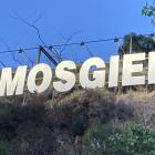 The Mosgiel sign is lit up on Tuesday night. PHOTO: JESSICA WILSON