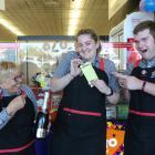 New World Waitaki Lotto counter workers (from left) Karen Mullin, Melissa King and Sebastian...