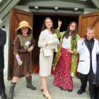 Enjoying the summer drama school and dressed in character are Ben Jurd (barrister), Laura Hyde ...