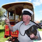Mornington Cable Car Society member Stuart Payne shows some cable car paraphernalia which was...