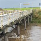 The Channel Road bridge at Tussock Creek was affected by recent heavy flooding. Photo: SOUTHLAND...