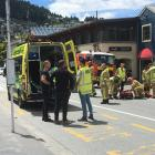 Emergency services at the scene of the crash in the Queenstown CBD. Photo: Guy Williams