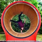 Dunedin North Intermediate teacher Craig Beer goes for a spin on the school's new hamster wheel....