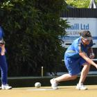 Sarah Scott delivers a bowl in the final of the women's open singles at Outram Bowling Club on...