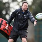 Mark Jones takes part in a drill during a Crusaders training session. Photo: Getty