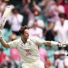 Australia's Steve Smith celebrates reaching his century. Photo: Getty