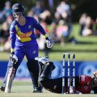 Millie Cowan of the Sparks is out stumped by Laura Hughes at Hagley Oval. Photo: Getty Images