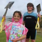 Tussock Creek residents Zoe (8) and Alex (11) Brinkworth won the sculpting competition for the...