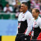 Jamie Joseph (left) and Tony Brown prior to Japan's game against Ireland. Photo: Getty Images
