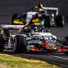 Kiwi Supercars driver Shane van Gisbergen, who was forced to start from pit lane, leads the field...