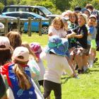 The effort goes in during the children's tug-of-war at the Lake Hayes A&P Show near...