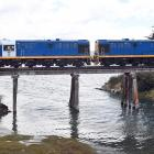 The Seasider train  nears the end of its latest 45-minute trip from Dunedin to Waitati yesterday....