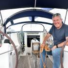 Ross Blackman on Sojourn II at the Otago Yacht Club marina yesterday. PHOTOS: PETER MCINTOSH
