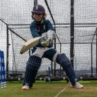 England's Heather Knight bats in the nets at the Queenstown Events Centre. The England squad...