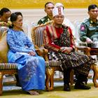 Aung San Suu Kyi (L) and vice presidents Henry Van Thio (centre) and Myint Swe. Photo: Reuters