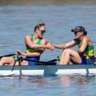 Dunstan Arms' Sophie Smith and Kirsty Mahoney celebrate silver in the women's double club sculls...