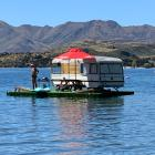 Glendhu Bay Motor Camp manager Phil Hunt ''camps'' in the middle of Lake Wanaka yesterday. PHOTO:...