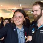 Otago Girls' High School pupil Shakirah Stephen (16) takes a selfie with Kane Williamson as the...