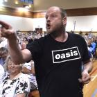 Andy Towner gives local government representatives a blast during a public meeting in Waikouaiti...