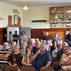 Middlemarch residents listen at a meeting with Dunedin City and Otago Regional Council staff...