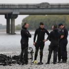 The police dive squad at the Waimakariri River earlier this week. Photo: NZ Herald