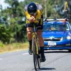 Finn Fisher-Black heads towards victory in the under-23 section of the time trial at the national...