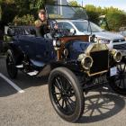 A 1914 Ford Model T with its owner, Bill Woodhouse, of Rangiora, in the Rangiora RSA car park...