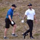 Australians D'Arcy Short (left) and Matthew Wade at the Otago Golf Club yesterday. PHOTOS: PETER...