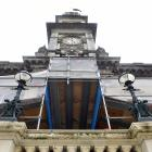 Scaffolding still up with repairing the exterior of Dunedin's Municipal Chambers and Town Hall...