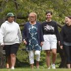 Retiring Maori Centre tumuaki/manager Pearl Matahiki (third from left) talks with University of...