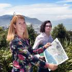 Dunedin City Council planners Anna Johnson and Nathan Stocker review planned ...