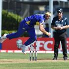 Otago Volts bowler Michael Rae has his eye on the ball at the University of Otago Oval on...