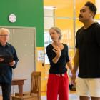 Rehearsing for The Soldier's Tale are (from left) narrator Peter Hayden, director Sara Brodie and...