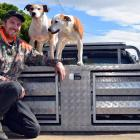 Taieri District Pig Hunting Club president Brandon Young, of Mosgiel, and his pig dogs Ice and...