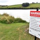 Warning signs at Tomahawk Lagoon yesterday warn potentially toxic algae has been found in it...