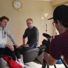Friends (from left) Toby Stoddart and Tenson Dalby are filmed by Jamie Farmer for their entry in...
